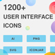 1200+ UI Design Vector Icons Pack