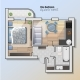Vector Top View Illustration of Modern One Bedroom