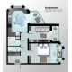 Vector Top View Illustration of Modern Two Bedroom