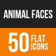 Animal Faces Flat Round Icons
