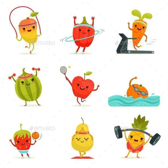 Funny Fruits Make Fitness Exercises. Vector