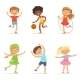 Kids Playing in Active Games. Vector Illustrations