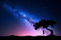Milky Way with tree and a woman practicing yoga