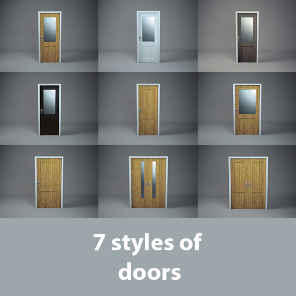3DOcean 7 Wooden Doors 20208247