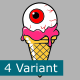 Set Of Ice Cream COne With Zombie Eye
