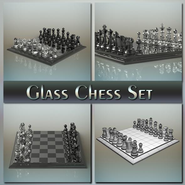 3DOcean Glass Chess Set 20211157