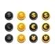 Cartoon Set Golden and Black Dollar, Euro and Yen