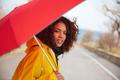 Woman looking camera in raincoat