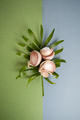 Garlic cloves lie on a leaf of a tropical plant on a blue-green