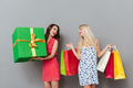 Amazing young ladies friends with shopping bags and gift.
