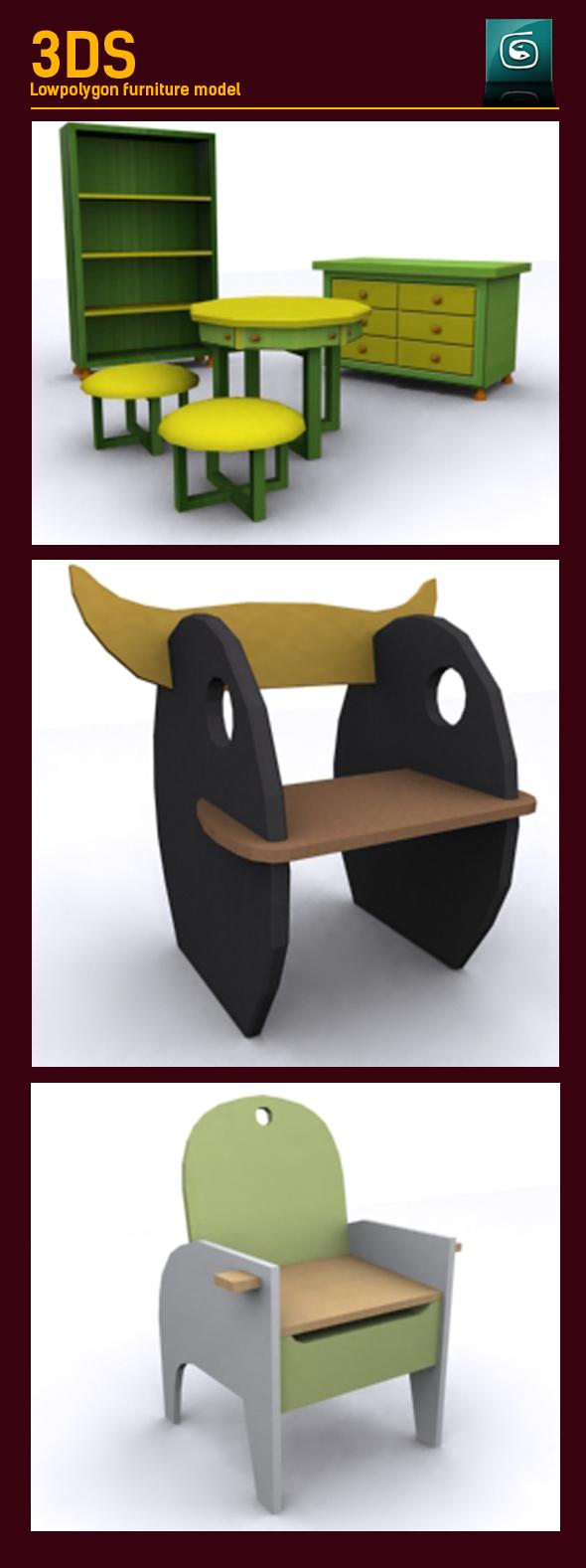 3DOcean 3D Lowpoly Kids furniture Model 20213469