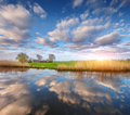 Colorful blue sky with clouds reflected in water