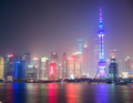 shanghai skyline in mist night