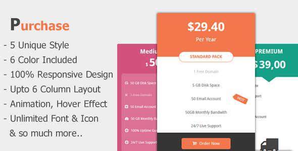 CodeCanyon Purchase Awesome Bootstrap Pricing Tables 20183506