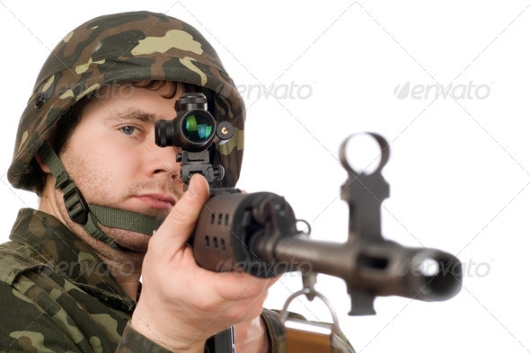 Armed soldier keeping svd - Stock Photo - Images