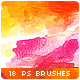 18 Watercolor Stains Paint Splatters Photoshop Brushes