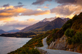 Scenic view of mountain landscape and the road, Bennetts bluff, NZ