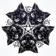 Black Cat Head Portrait Madnala, Moon, Pentagram.