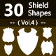 30 Shields Photoshop Vector Custom Shapes ( Vol.4 )