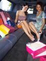 women shopping in limousine