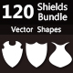 120 Shields Bundle Photoshop Vector Custom Shapes