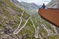 Norwegian mountain road. Trollstigen. Norway tourist viewpoint. Horizontal