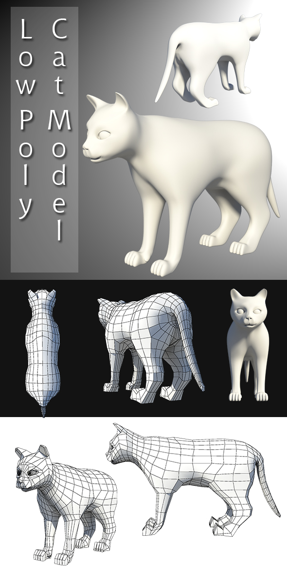 3DOcean Low Poly Cat Model 20227144