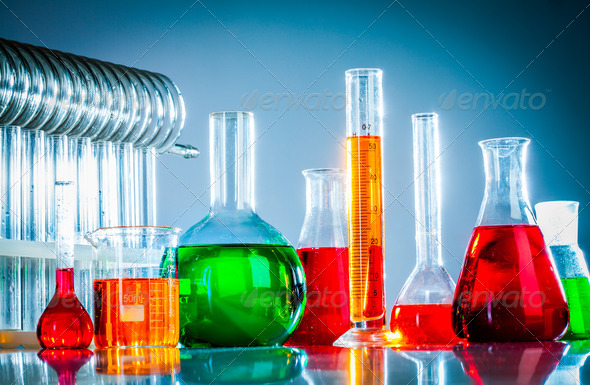 test tubes with colorful liquids - Stock Photo - Images