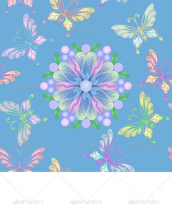 Vector Seamless Floral Lace with Butterflies - Patterns Decorative