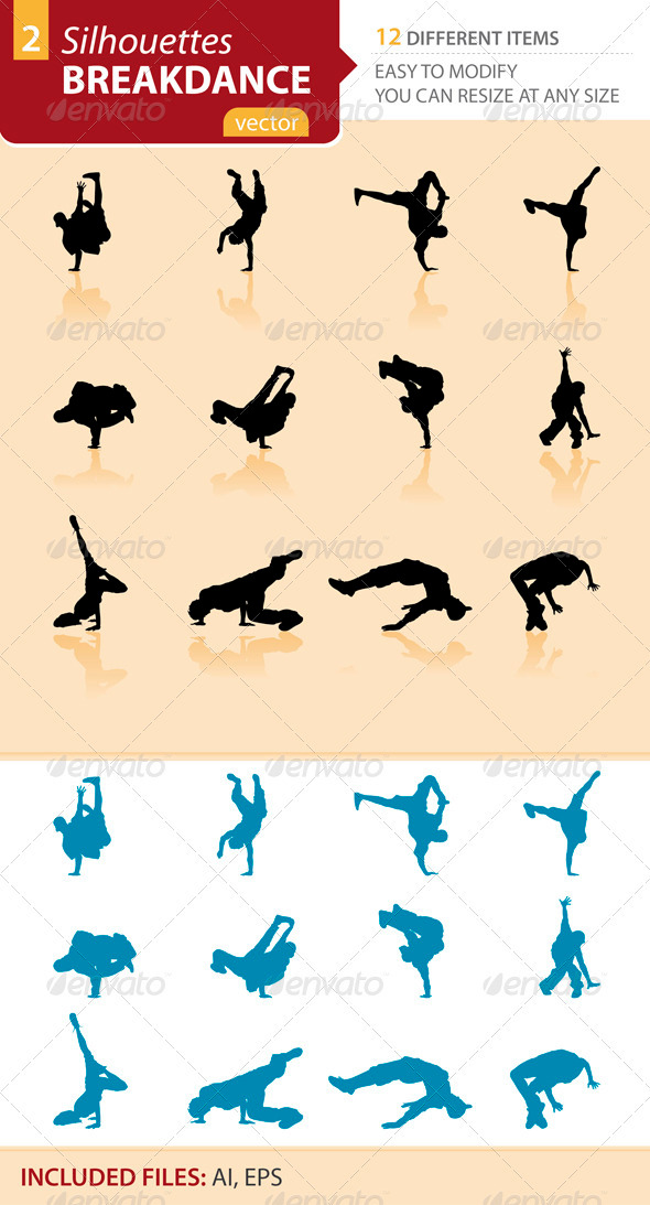 Breakdance silhouettes Set2