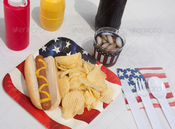 4th Of July Hotdog Meal - Stock Photo - Images
