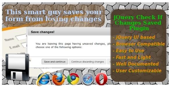 jQuery Ελέγξτε αν οι αλλαγές Αποθηκευμένες Plugin - Θέση WorldWideScripts.net προς πώληση