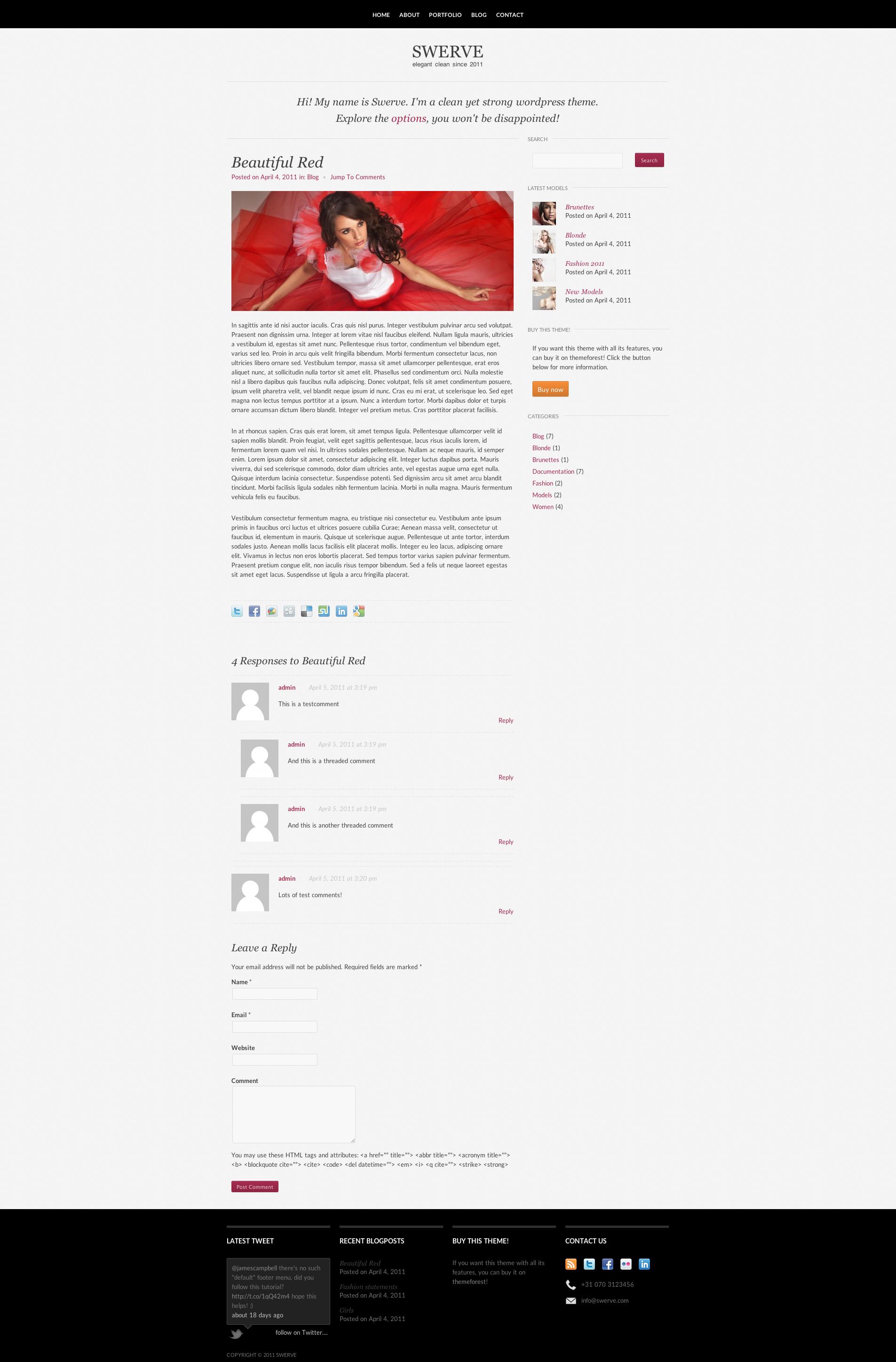 Swerve: Clean Portfolio Wordpress Theme