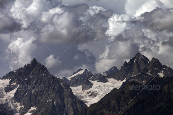 Cloudy mountains. Caucasus Mountains. - Stock Photo - Images
