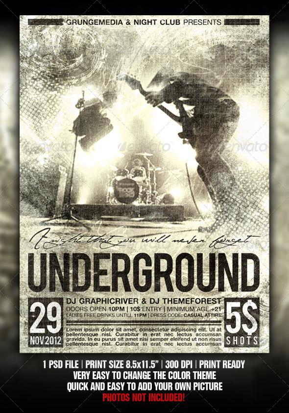 rock concert poster template .