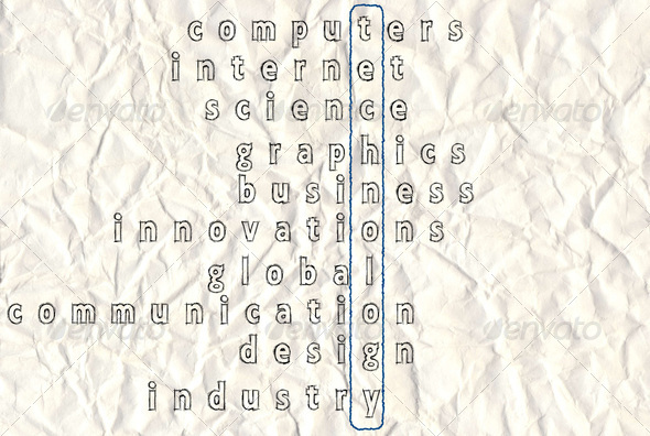 Technology Highlighted Crossword - Stock Photo - Images
