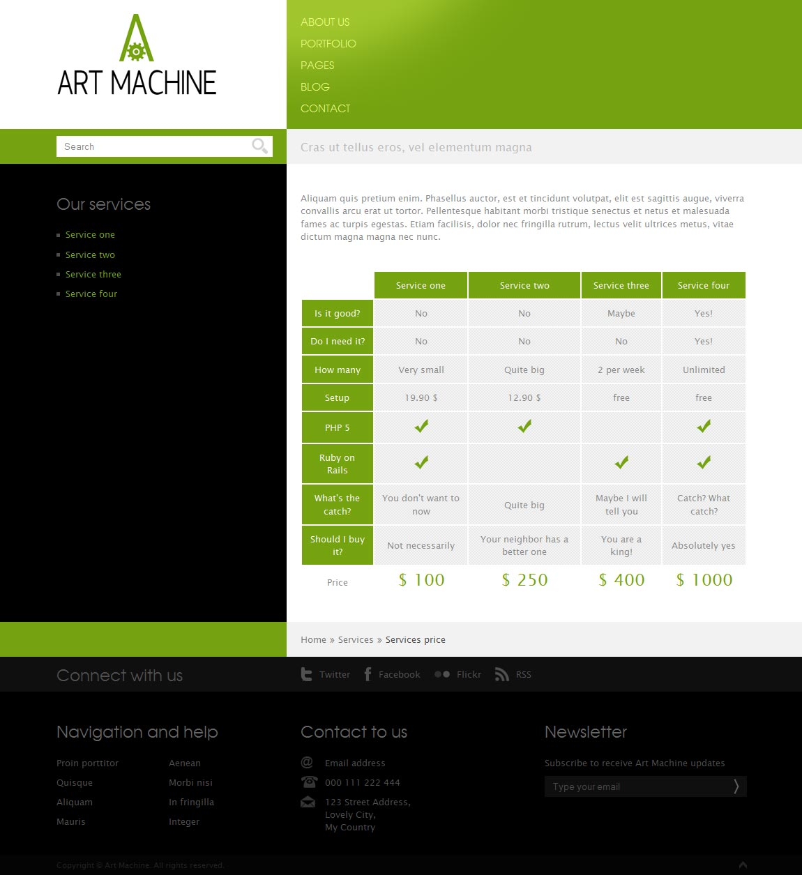 Art Machine HTML Template - Price table.