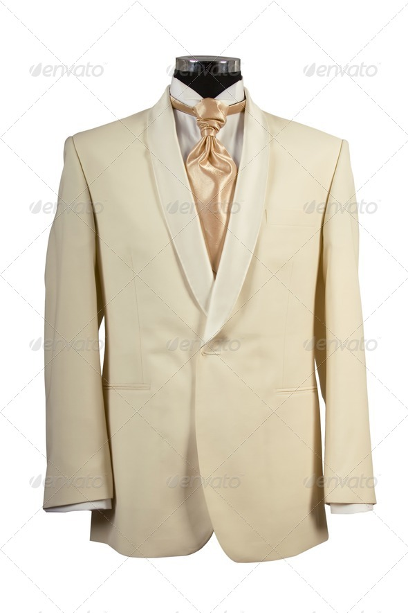 withe suit and gold tie for ceremony - Stock Photo - Images