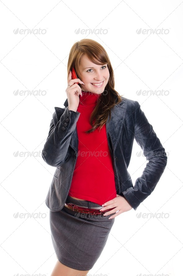 Business woman talking by mobile phone. Isolated on white. - Stock Photo - Images