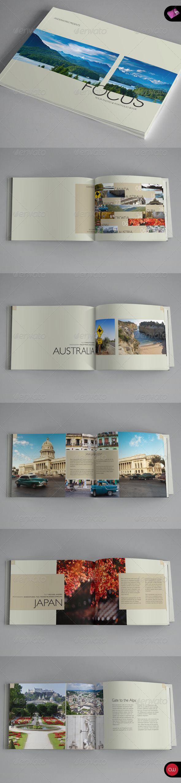 Focus Series • Book & Brochure Landscape - Photo Albums Print Templates