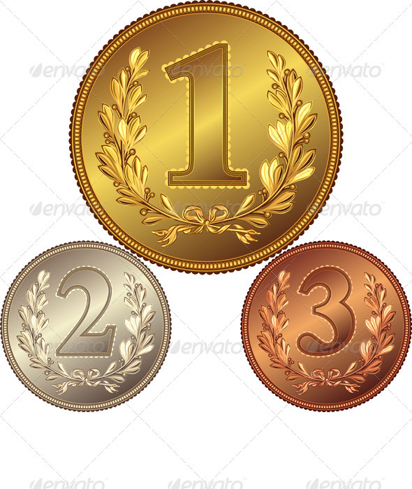 GraphicRiver vector set of gold silver and bronze medals 1990535
