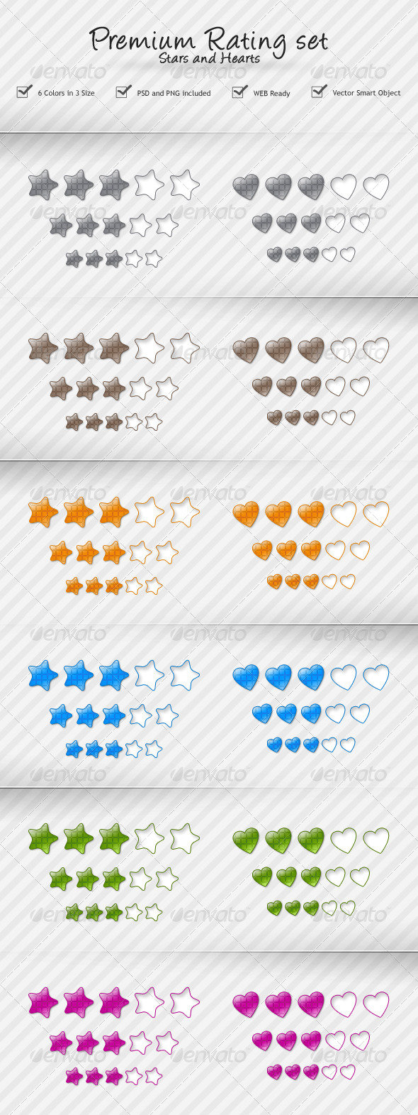 Rating Stars and Hearts - Web Elements