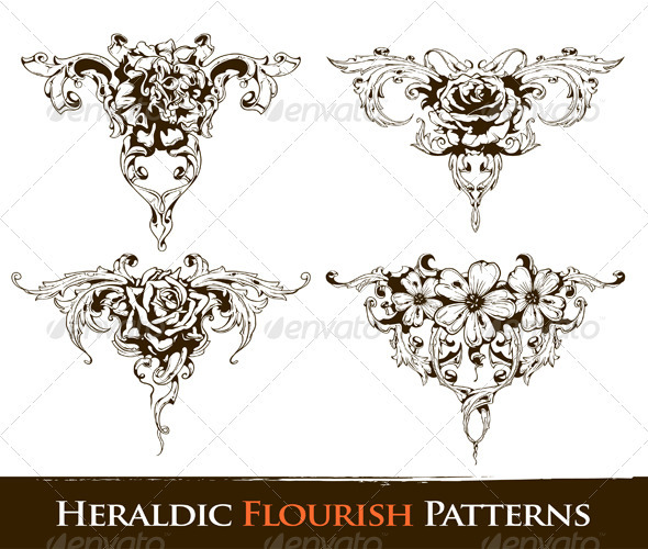 Set of heraldic flourish  patterns - Organic objects Objects