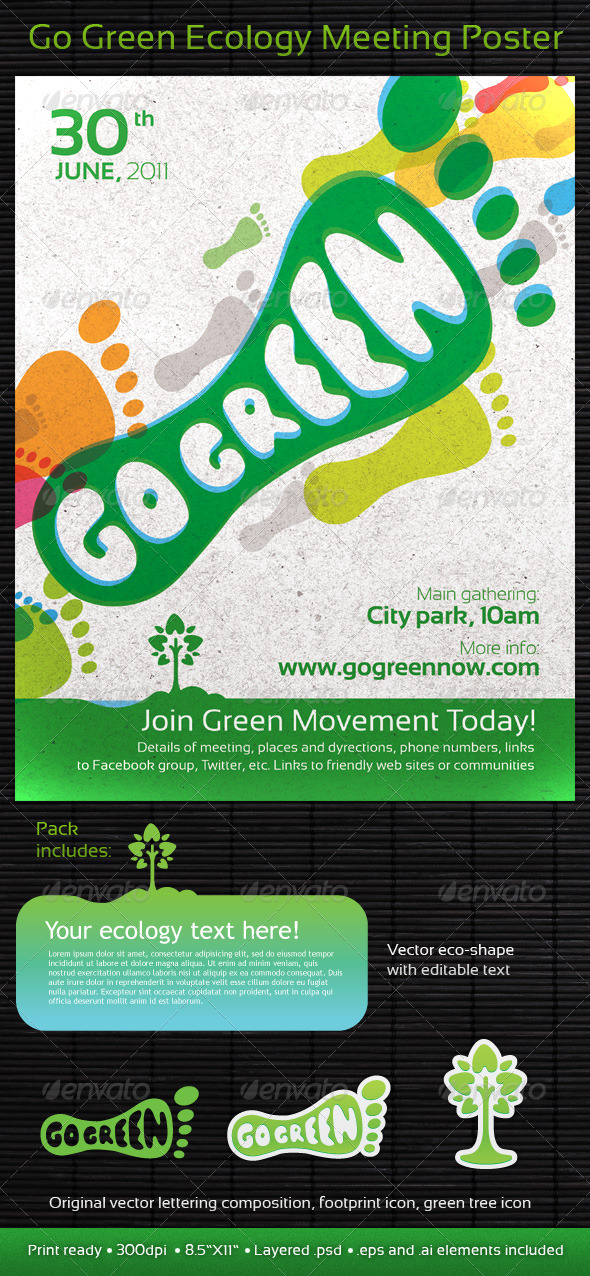 Go Green Ecology Meeting Poster/Flyer - Miscellaneous Events
