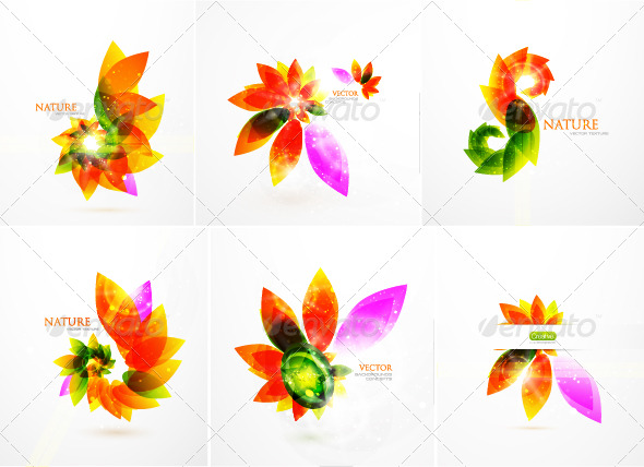 GraphicRiver Colorful floral background pack 231533