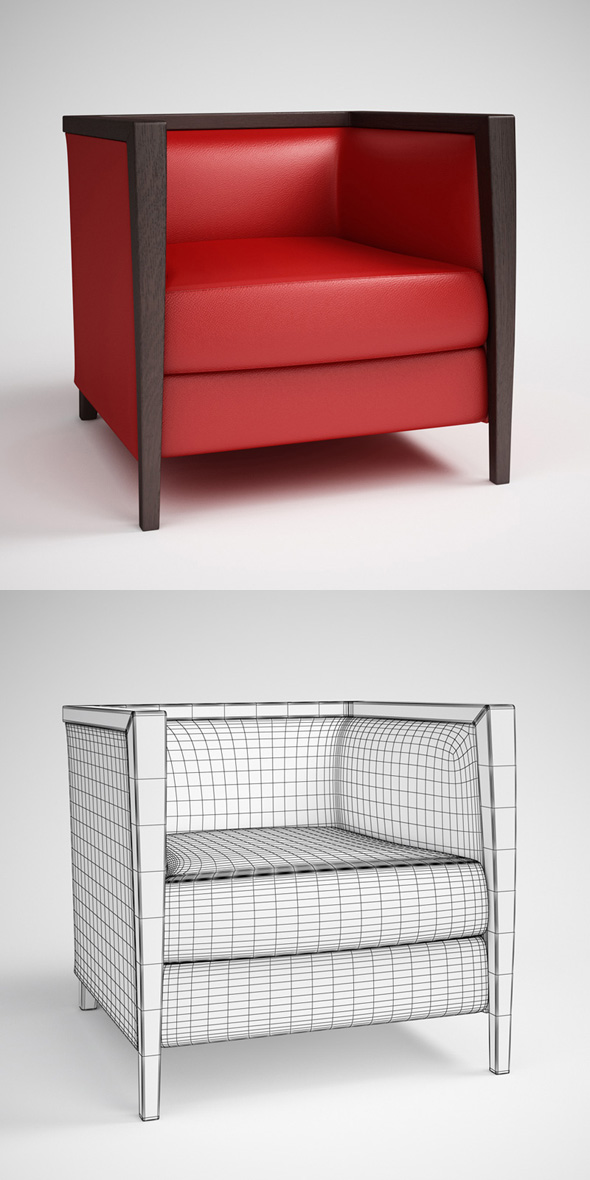 CGAxis Red Leather Armchair 09
