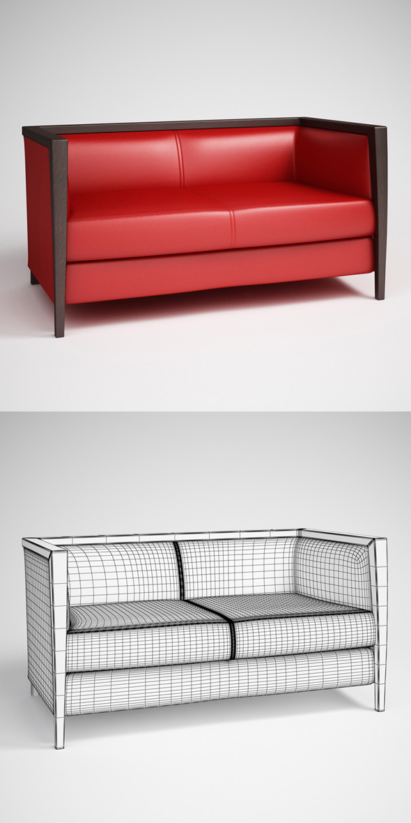 CGAxis Red Leather Sofa 10 - 3DOcean Item for Sale