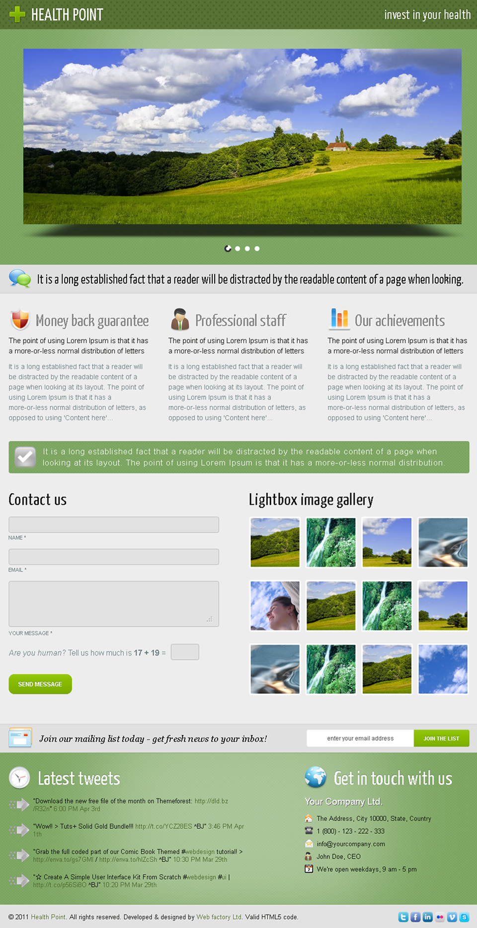 Health Point - Health Industry Landing Page - Health Point - green theme, 3D slider