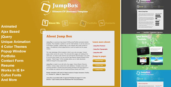 JumpBox - Animated Resume/Portfolio
