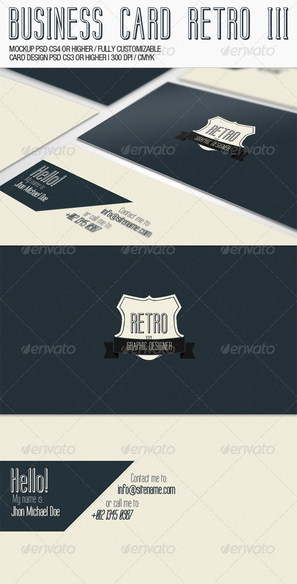 Business Card - Retro III - Corporate Business Cards